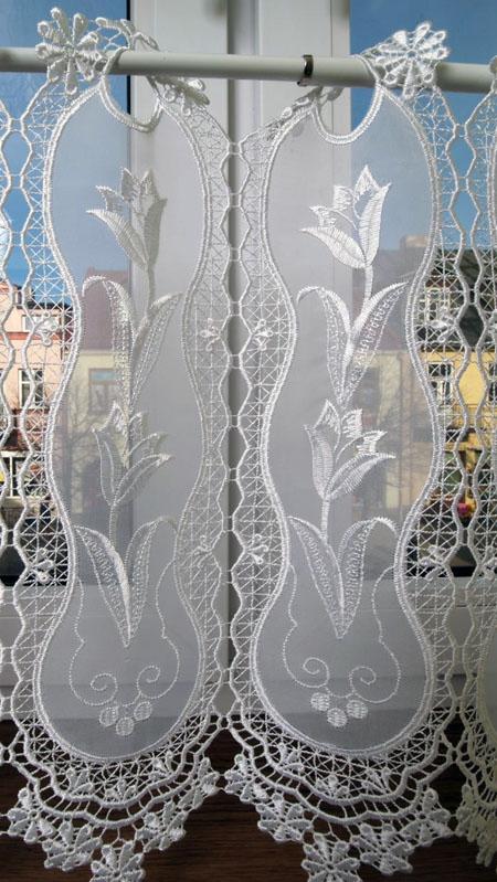 Panel zazdrostka z gipiurą na woalu wys. 90cm - biel