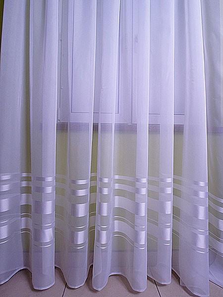 Firana z woalu z atłasowymi pasami wysokość 1,60m